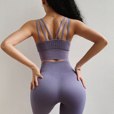 Seamless Leggings+Sports Bra Workout Sports Suit Yoga Sets - Arhametics