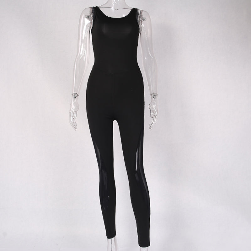 Mesh Splice Backless One Piece One Pieces - Arhametics