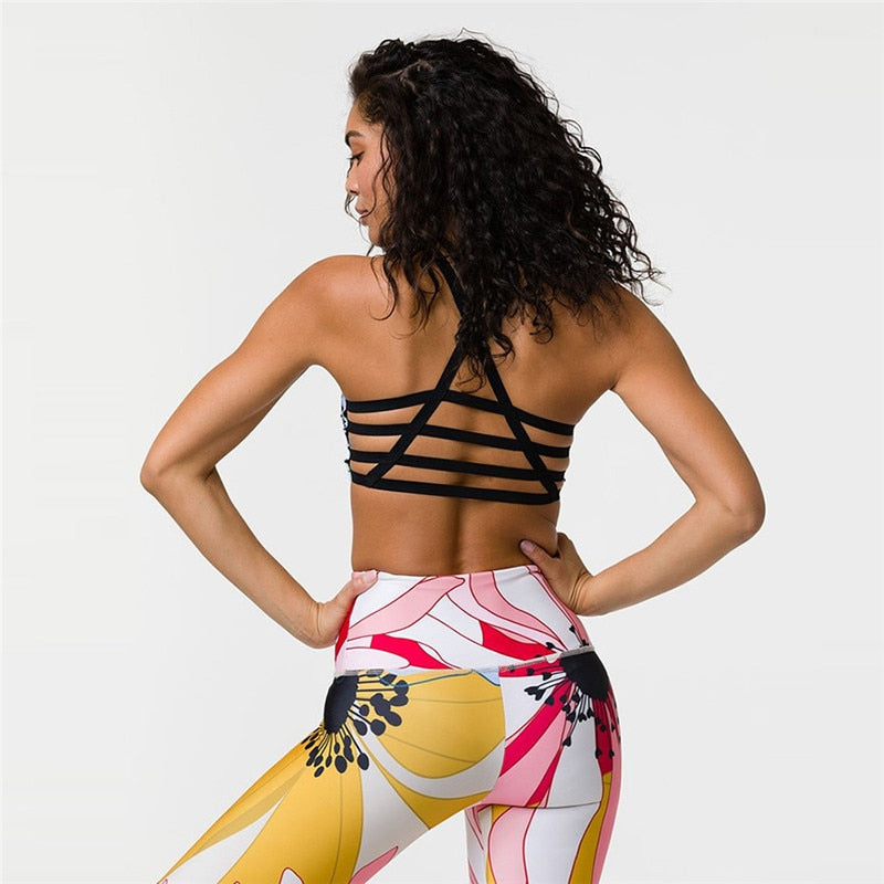Printed Patchwork Fitness Set Yoga Sets - Arhametics