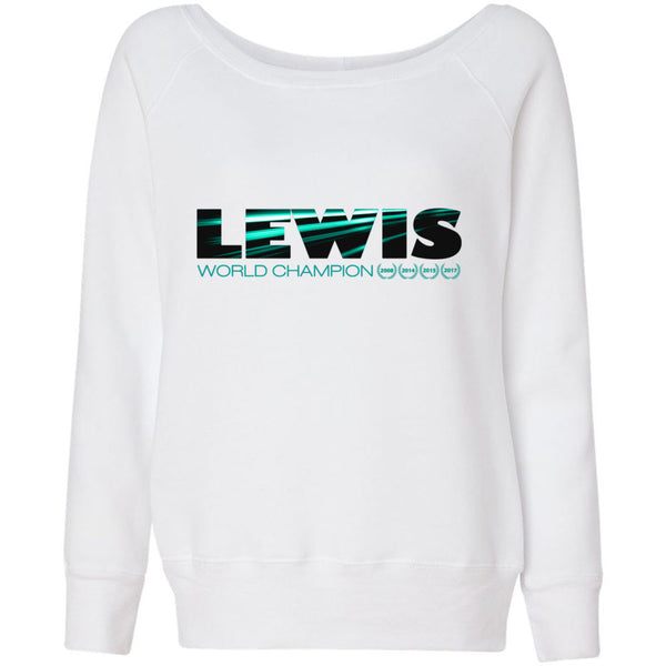 Formula 1 Sweatshirt Women Fleece Lewis Hamilton World Champion 2017 - Lewis - Wide Neck
