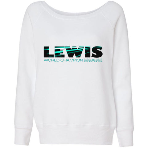 Formula 1 Sweatshirt Women Fleece Lewis Hamilton World Champion 2017 - Lewis - Wide Neck Unicorn Llama unicornllama.com