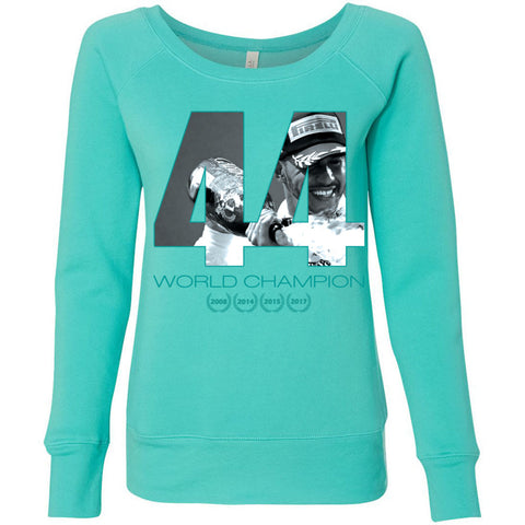 Formula 1 Sweatshirt Women Fleece Lewis Hamilton World Champion 2017 - 44 - Wide Neck Unicorn Llama unicornllama.com