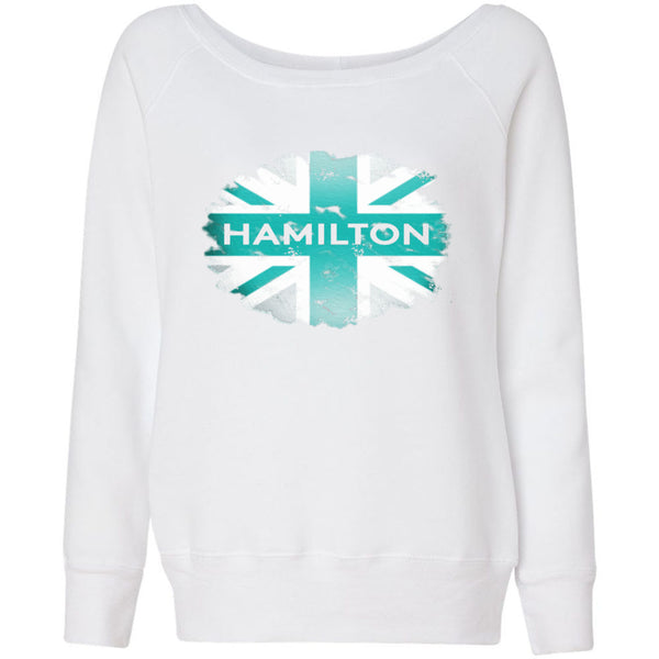 Formula 1 Sweatshirt Women Fleece Lewis Hamilton World Champion 2017 - Flag - Wide Neck