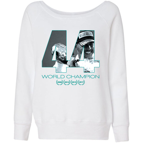 Formula 1 Sweatshirt Women Fleece Lewis Hamilton World Champion 2017 - 44 - Wide Neck