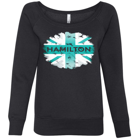 Formula 1 Sweatshirt Women Fleece Lewis Hamilton World Champion 2017 - Flag - Wide Neck Unicorn Llama unicornllama.com