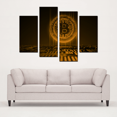 Bitcoin 4 Panels High Quality Canvas Prints