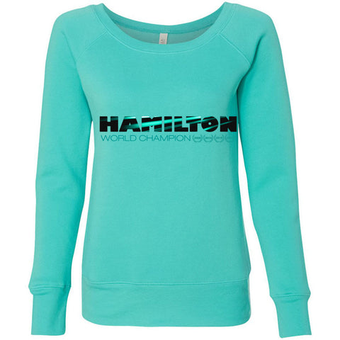 Formula 1 Sweatshirt Women Fleece Lewis Hamilton World Champion 2017 - Hamilton - Wide Neck Unicorn Llama unicornllama.com