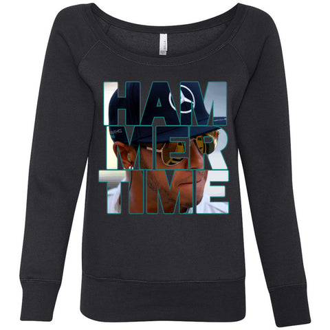 Formula 1 Sweatshirt Women Fleece Lewis Hamilton - Hammertime - Wide Neck Unicorn Llama unicornllama.com