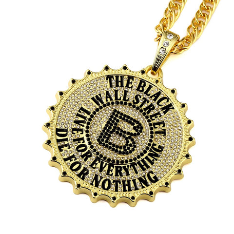 The Black Wall Street Pendant Necklace – Golden Medallion with Crystals