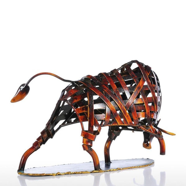 Woven Metal Bull for Every Trader's Desk - Copper Color