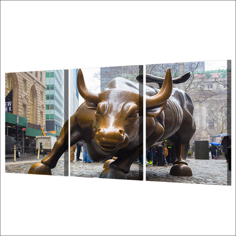 Wall Street Charging Bull 3 Panels High Quality Canvas Prints
