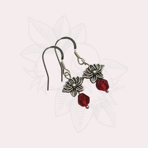 Lotus Earrings with Red Bead