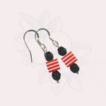 Red and White Cube Earrings