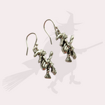 Witches on Broomsticks Halloween Earrings