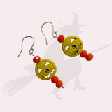 Yellow Pumpkin Halloween Earrings