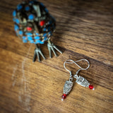 Owl Earrings with Red Bead