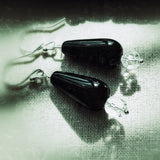 Black Pear Drop Glass Bead Earrings