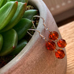 Load image into Gallery viewer, amber glass bead earrings