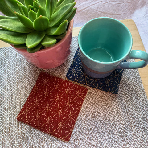 Japanese Asanoha Drink Coasters - Set of Two