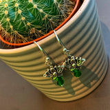 Lotus Earrings with Green Beads