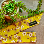 Lime Green Floral Cotton Skinny Scarf