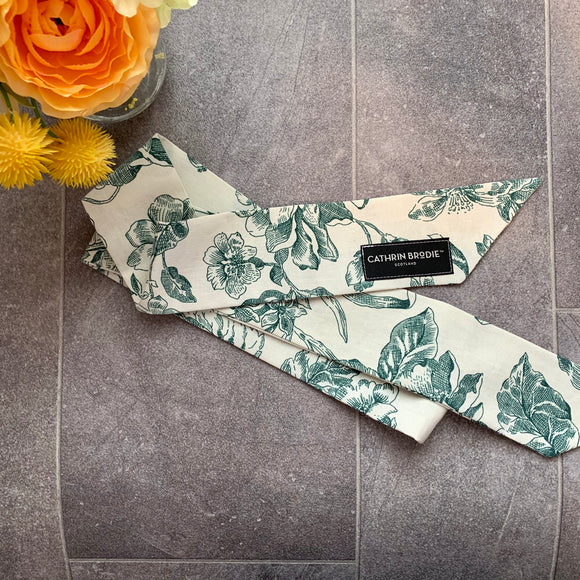 Green Floral Cotton Skinny Scarf