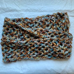 Russet and Blue Crochet Scarf