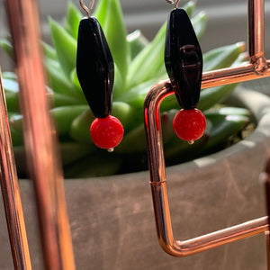 Black and Red Octahedral Earrings