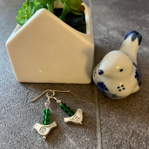 Birdie Earrings in green