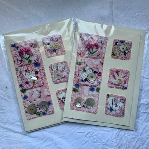 Vintage Pink Embroidered - Greeting Card