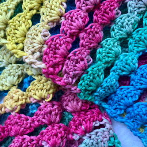 Ice Cream Rainbow Crochet Scarf