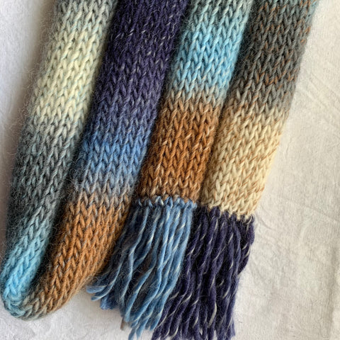 Shades of Winter Blue Tassel Scarf