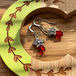 Load image into Gallery viewer, Lotus Earrings with Red Bead