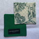 Green Floral Drink Coasters - Set of Two