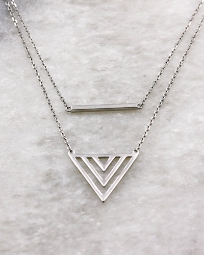 Modern 2 layer geometric necklace in silver