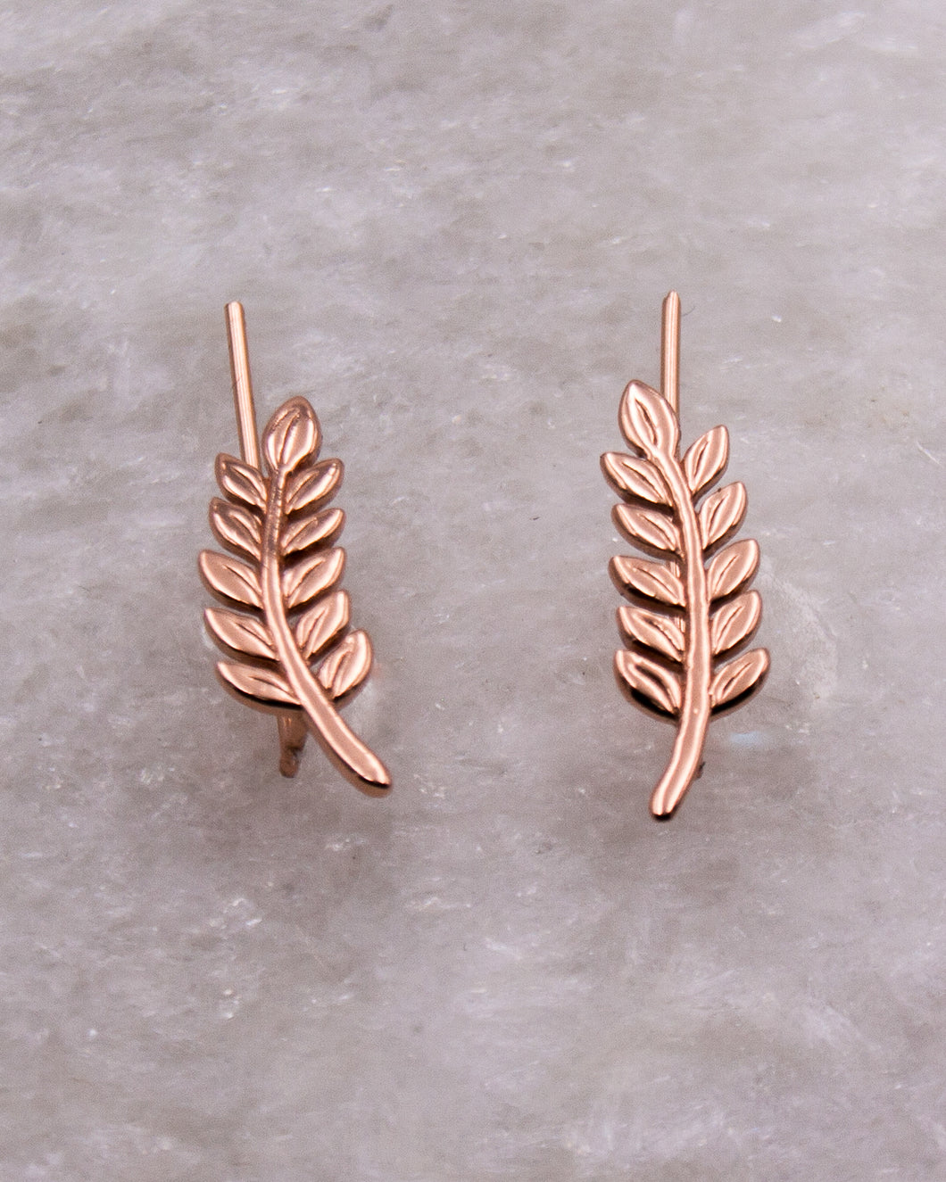 Rose Gold Leaf Ear Climbers