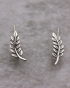 Silver Small leaf earrings climbers