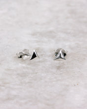 Silver Triangle Pyramid Earrings