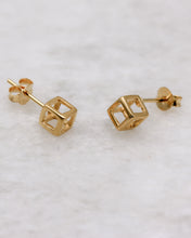 Hollow cube stud earring gold