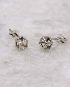 Contemporary cube ear stud silver