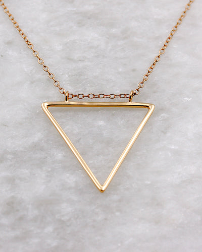 Hollow Triangle Pendant Necklace in gold