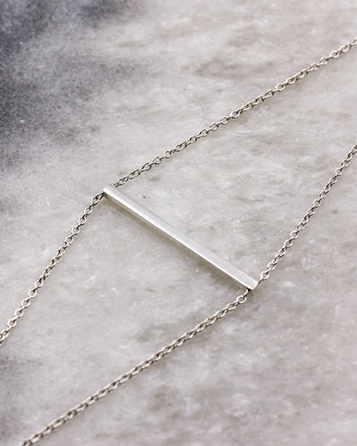 Geometric style horizontal bar bracelet in sterling silver