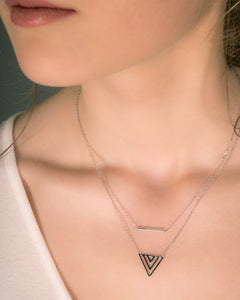Model wearing Chevron and Bar Double Necklace Silver