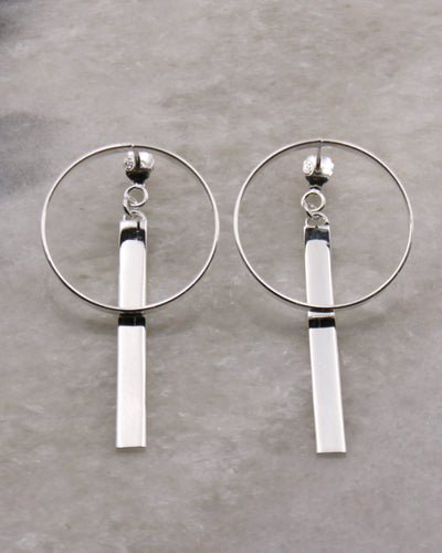 Circle and Bar Double Earrings in Silver