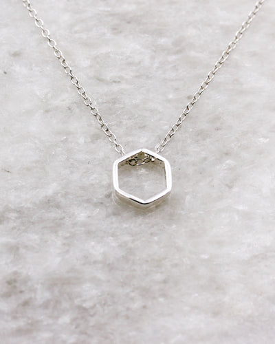 Petite hexagon pendant necklace in silver
