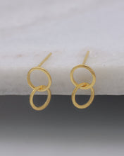 Petite linked hoop modern stud earrings gold