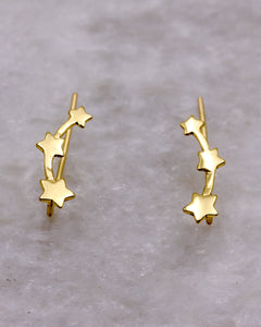 Star trio ear climber gold