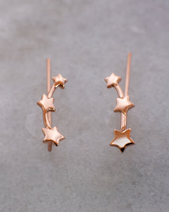 Star ear climber earrings rose gold