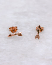 Tiny arrow ear studs rose gold