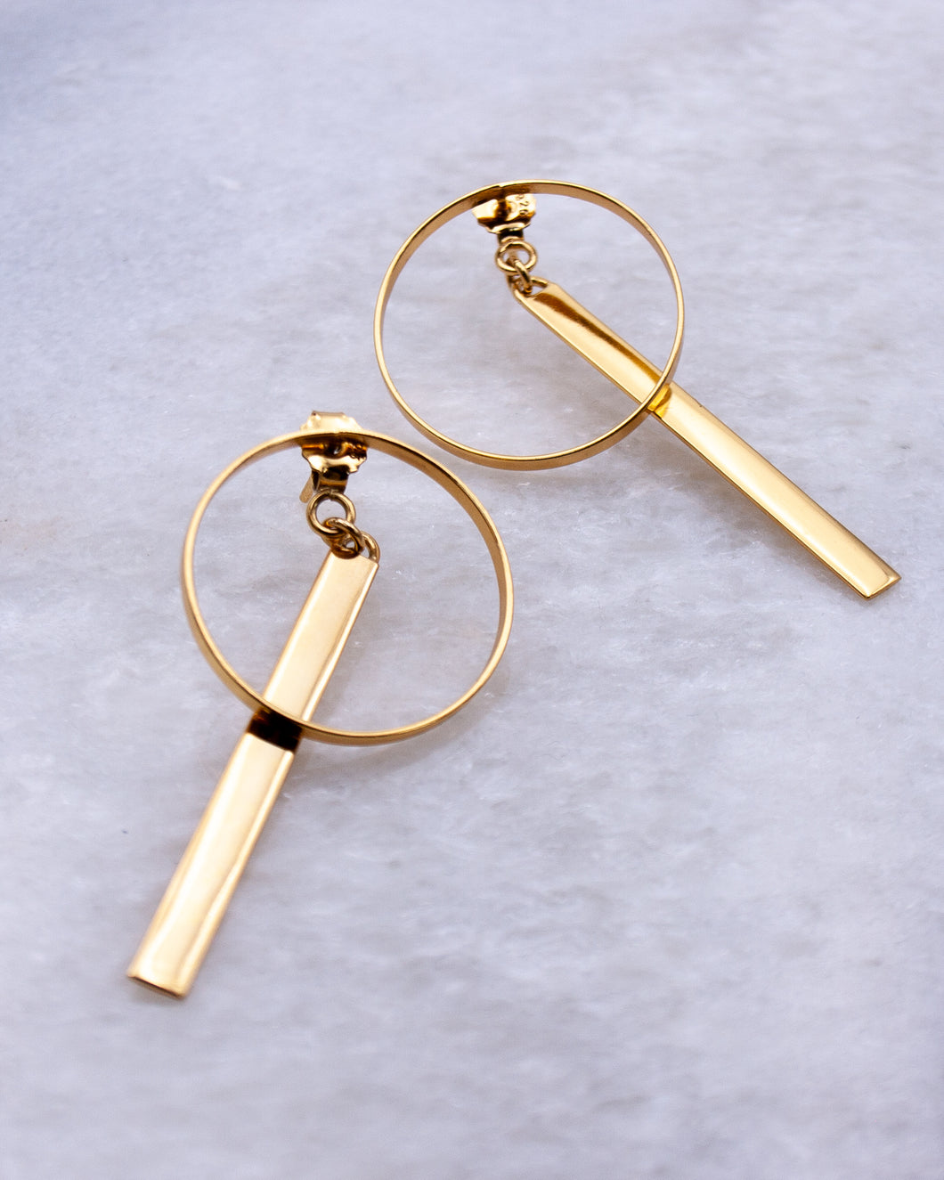 Circle and Bar Double Earring